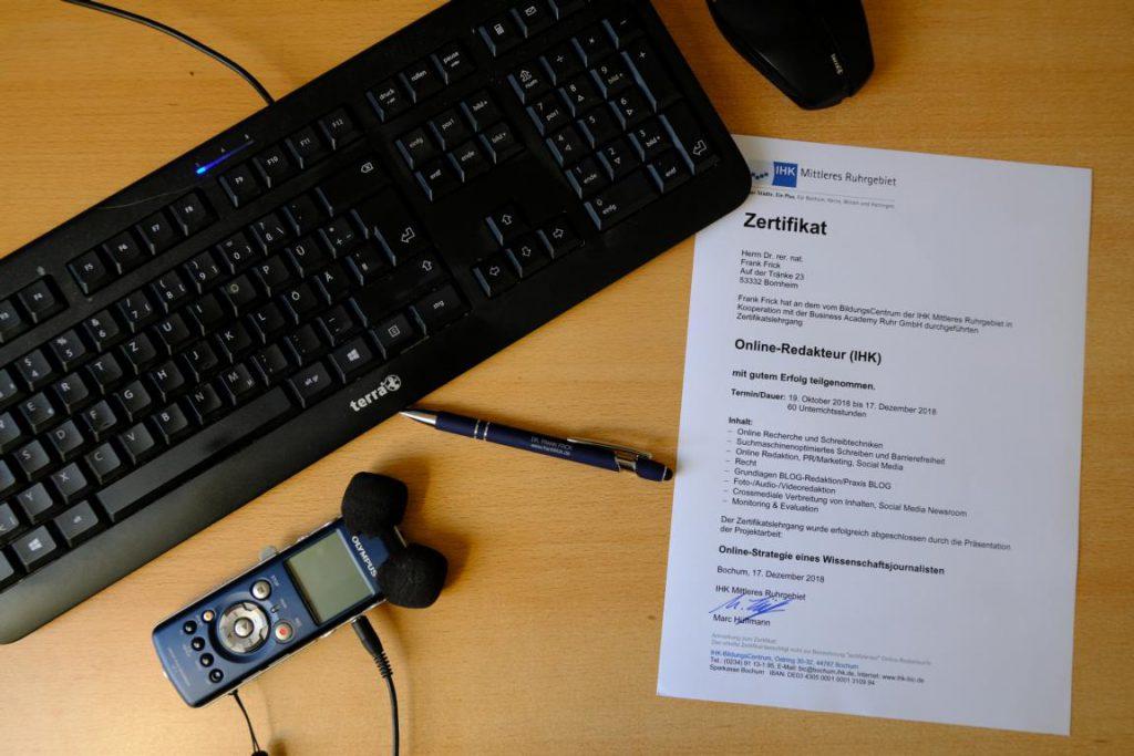 Zertifikat Online-Redakteur für Frank Frick