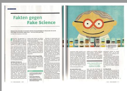 Blick auf den layouteten Artikel Fake Science
