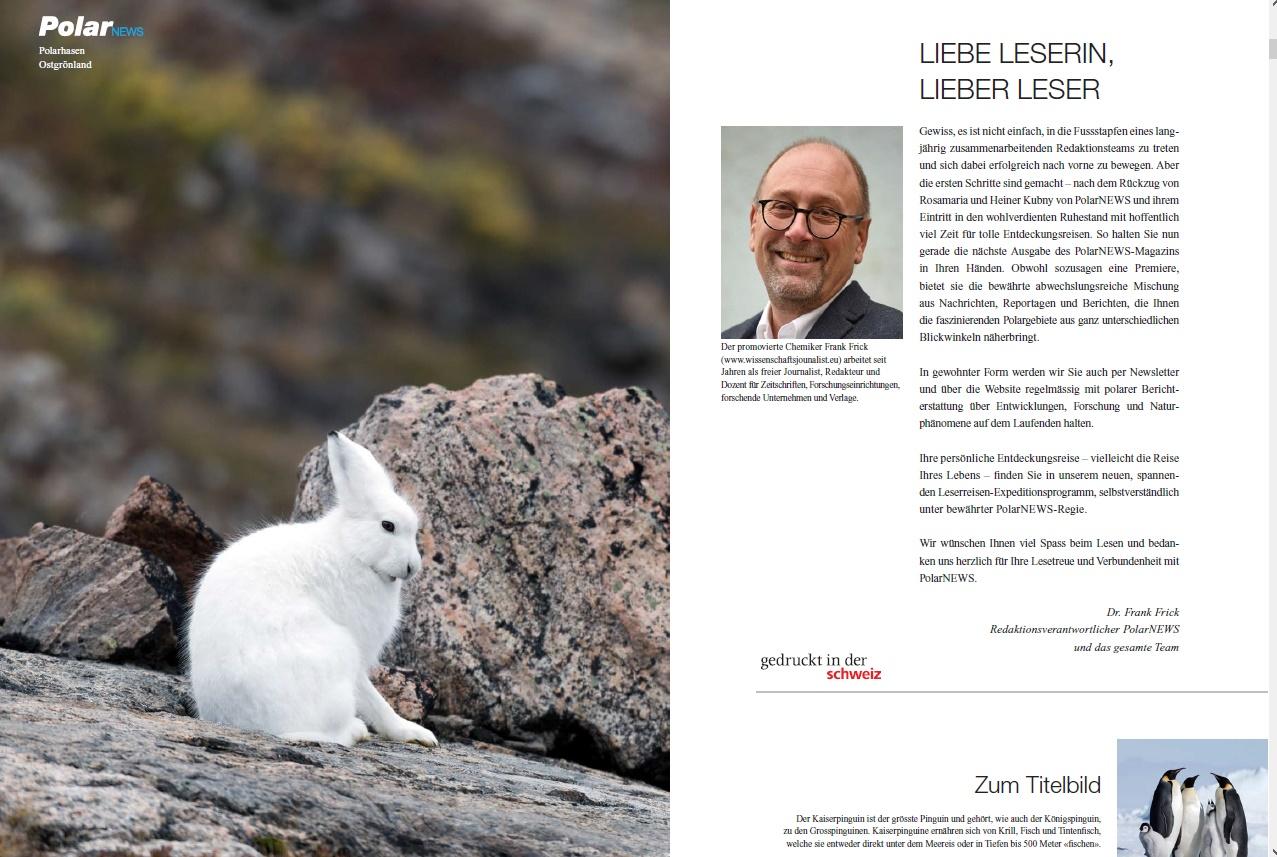 Das Editorial des Zeitschriftenredakteurs Frank Frick für PolarNEWS
