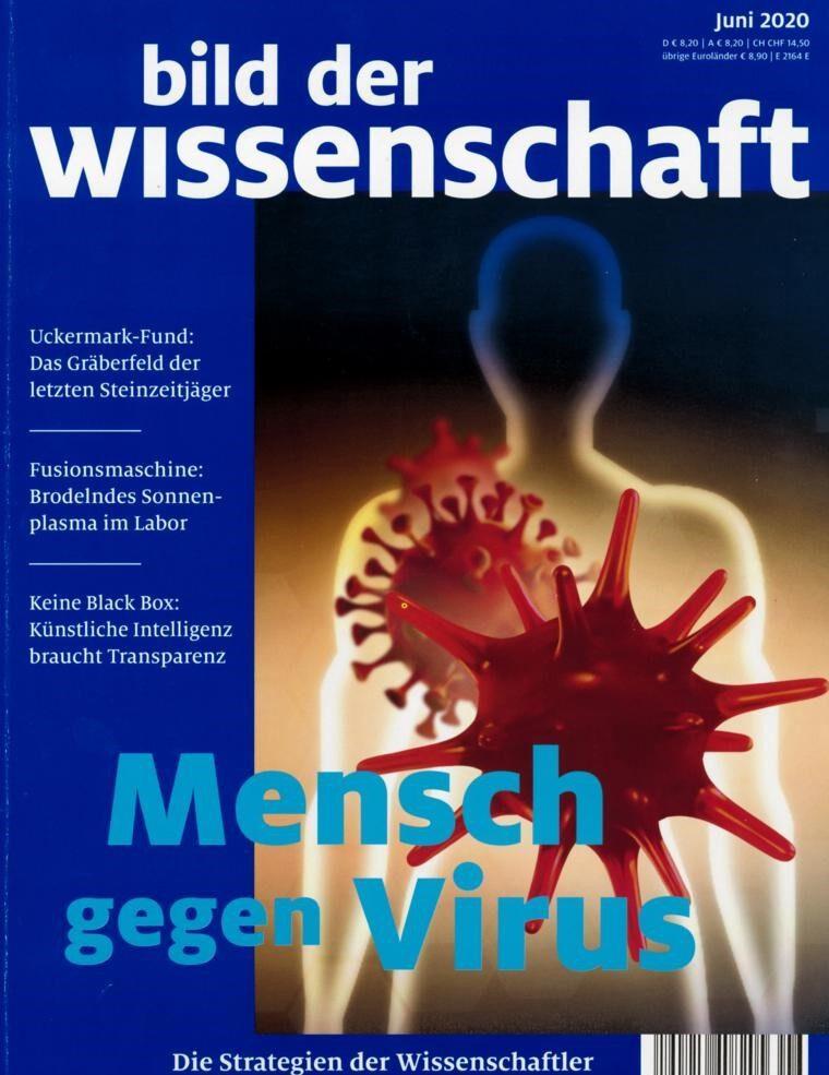 """Blick auf das Cover der Ausgabe von bild der wissenschaft, in der der Artikel """"Die Jagd nach dem Impfpstoff"""" von Frank Frick erschienen ist"""