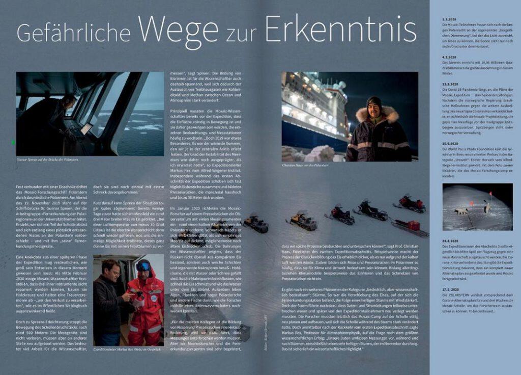 Blick auf Artikel des Wissenschaftsjournalisten Frank Frick im Magazin PolarNews 29